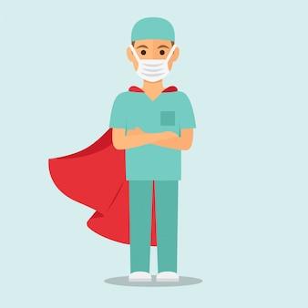 Superman infermiera maschio con mantello rosso