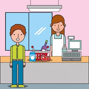 Supermercato con il cliente e cassiere vicino al cestello del registratore di cassa