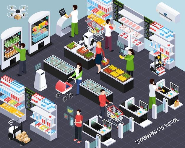 Supermercato di futura composizione isometrica con tecnologie di scaffali intelligenti e cestini della spesa che scansionano l'illustrazione degli oggetti acquistati
