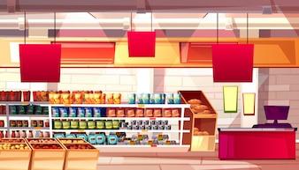 Supermercato e prodotti alimentari della drogheria sull'illustrazione degli scaffali.