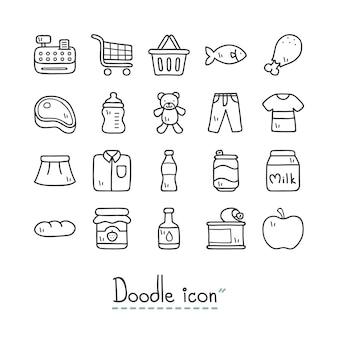 Supermercato. icone sveglie di doodle.