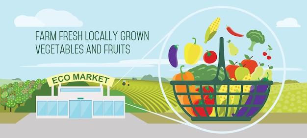 Supermercato prodotti naturali in un cestino