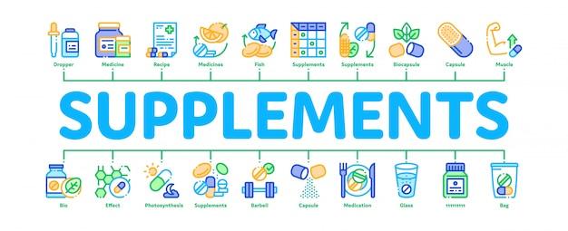 Supplementi minimal infographic banner