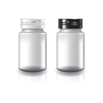 Supplementi tondi bianchi o flacone di medicinali con coperchio bicolore nero-bianco.