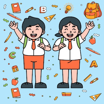 Supplies fissi di student character cartoon school