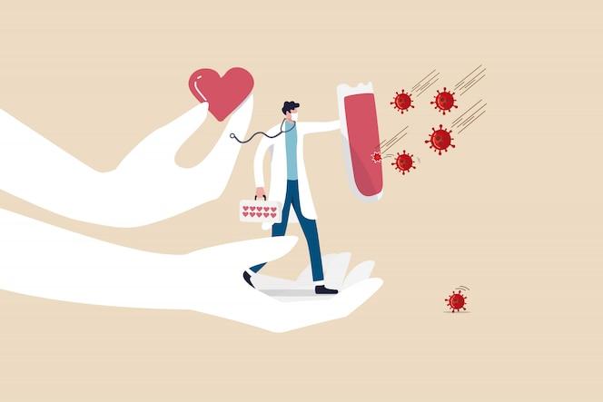 Supporta il personale medico, il medico, il medico con amore per combattere il concetto di diffusione dell'epidemia di coronavirus covid-19, l'eroe medico pieno di supporto e l'amore che tiene lo scudo per proteggere il patogeno del virus covid-19.