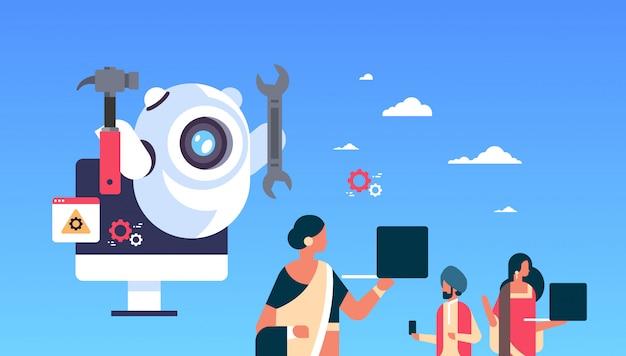 Supporto bot robot chiave inglese servizio riparazione concetto intelligenza artificiale popolo indiano utilizzando gadget orizzontale piatta