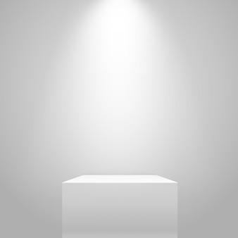Supporto illuminato bianco sul muro. mockup di vettore
