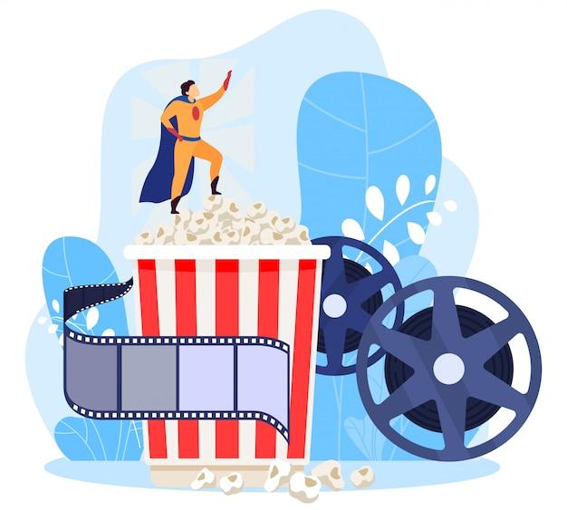 Supporto maschio del supereroe del carattere in contenitore di popcorn, concetto del cinema, su bianco, illustrazione. per sito web e.