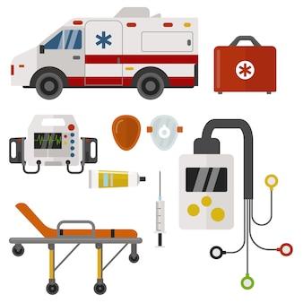Supporto medico urgente della farmacia dell'ospedale di emergenza di salute della medicina delle icone dell'ambulanza