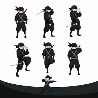 Supporto ninja nero a cartoni animati in versioni reali