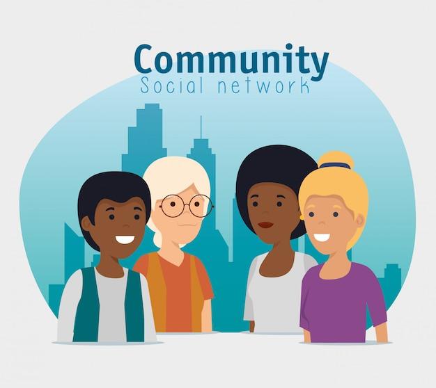 Supporto per i messaggi social della gente della comunità