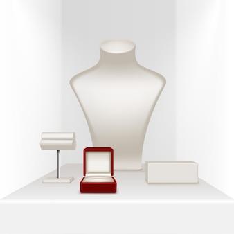 Supporto per orecchini con orecchini bianchi per gioielli con scatola rossa