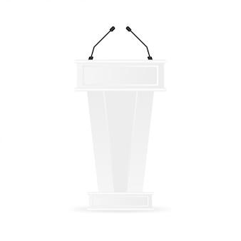 Supporto per podio tribune podio bianco pulito.