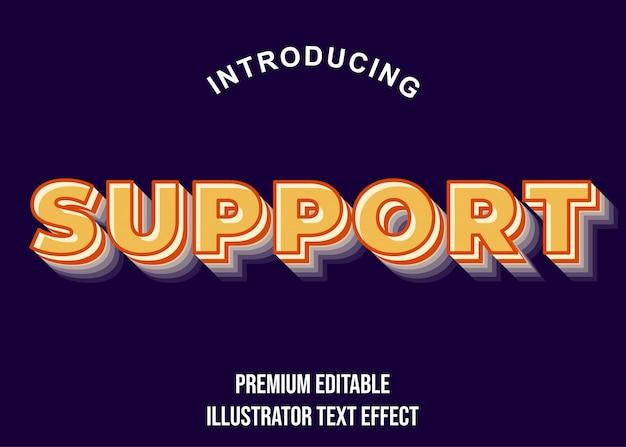 Supporto - stile di carattere soft orange 3d text effect