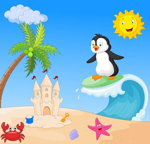 Surfing di cartone animato di pinguino felice
