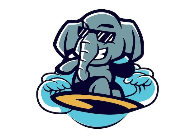 Surfing elephant mascot design