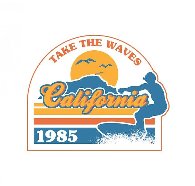 Surfista cavalcando la grande onda nell'oceano california beach paradise place.