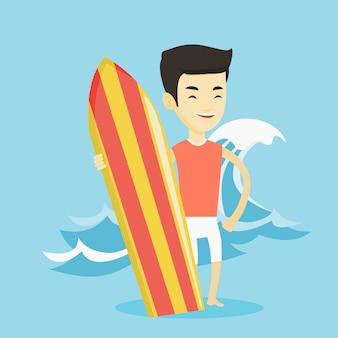 Surfista che tiene l'illustrazione di vettore del surf.