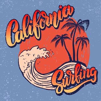 Surfista della california. modello di poster con scritte e palme. immagine