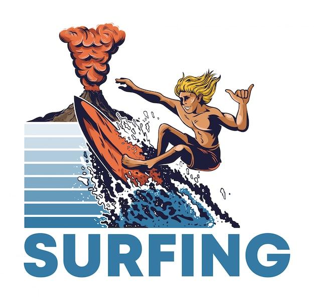 Surfista estremo di un uomo che guida sul grande vulcano attivo pericoloso dell'onda di oceano grande