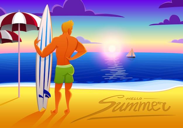 Surfista sulla spiaggia dell'oceano al tramonto con la tavola da surf. illustrazione, effetto vintage.