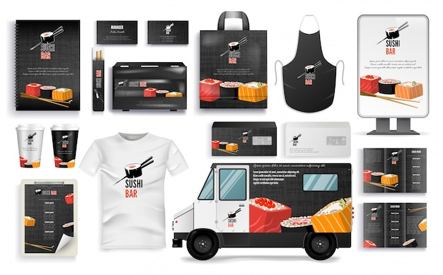 Sushi bar branding set con menu cafe, accessori