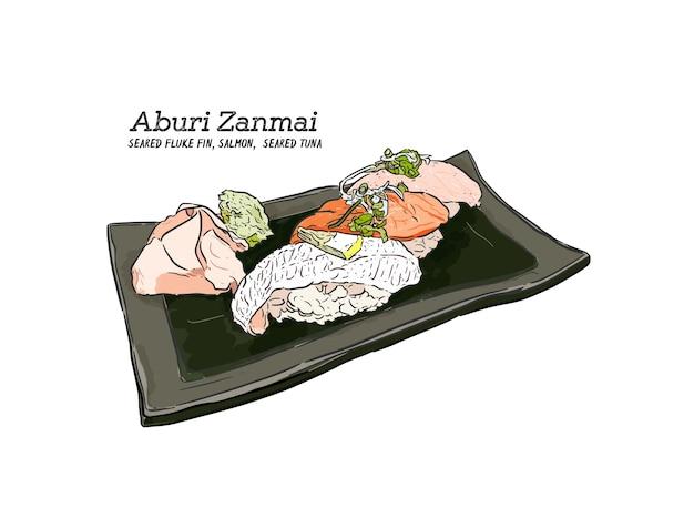 Sushi di nigiri, vettore di schizzo di tiraggio della mano.