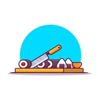 Sushi e onigiri con coltello cartoon icona illustrazione. concetto di icona cibo giapponese isolato. stile cartone animato piatto