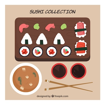 Sushi e raccolta di cibo giapponese