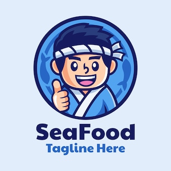 Sushi giapponese chef cartoon logo design