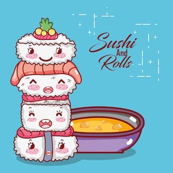 Sushi giapponese impilati sushi wasabi salmone e zuppa kawaii cibo giapponese cartoon, sushi e panini