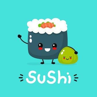 Sushi, rotolo e wasabi sorridenti divertenti felici svegli. icona piana dell'illustrazione del personaggio dei cartoni animati cucina asiatica, giapponese, alimento della porcellana. carattere di sushi giapponese, menu per bambini