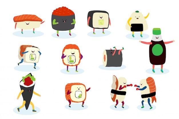 Sushi, sashimi con il sorriso, mani, gambe sull'illustrazione comica della persona asiatica dell'alimento del fumetto isolata su bianco.