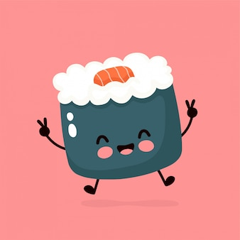 Sushi sorridenti felici svegli, rotolo. illustrazione di stile di disegno a mano. cibo asiatico, giapponese, cinese