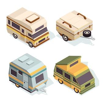Suv e camper. set di immagini isometriche di auto da viaggio