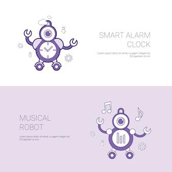 Sveglia astuta e insegna musicale di web del modello di concetto del robot con lo spazio della copia