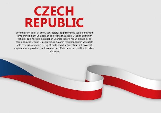 Sventolando la bandiera della repubblica ceca, illustrazione vettoriale