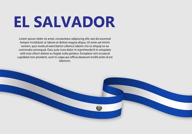 Sventolando la bandiera di el salvador, illustrazione vettoriale
