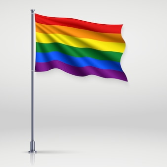 Sventolando nastro con bandiera dell'orgoglio lgbt.