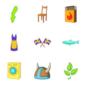 Svezia icone set, stile cartoon