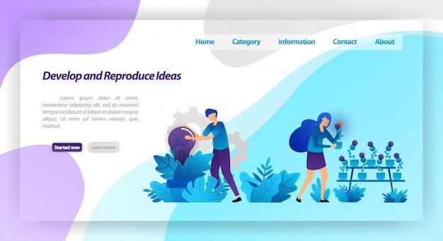 Sviluppa e riproduci idee. parcheggiare con le piante della lampadina. lavoro di squadra che raccoglie e si prende cura dell'idea. modello web della pagina di destinazione