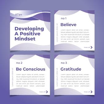 Sviluppa suggerimenti di mentalità positiva sul set di post di instagram