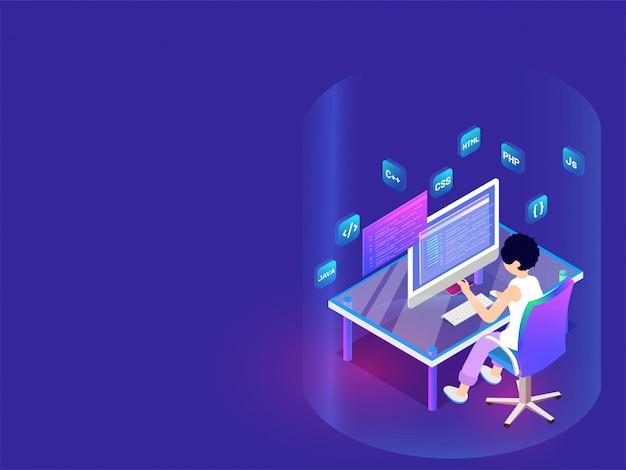 Sviluppatore che lavora su desktop.