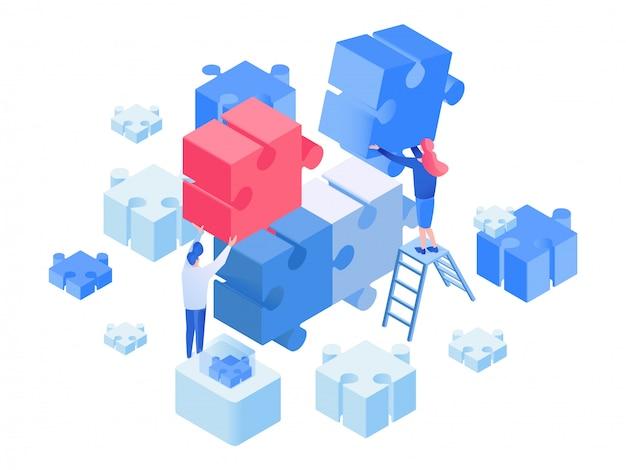 Sviluppatori coworking, team di lavoro isometrici