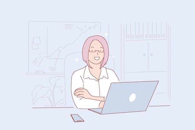 Sviluppo aziendale, lavoro d'ufficio, illustrazione del dipartimento di analisi