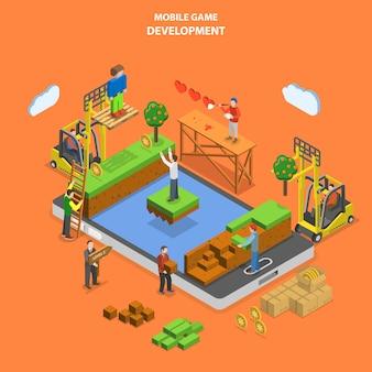 Sviluppo del gioco mobile piatto isometrico.