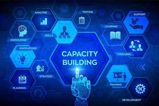 Sviluppo delle capacità su schermo virtuale. formazione apprendimento conoscenze competenze strategia pianificazione coaching supporto sviluppo icone. interfaccia digitale commovente della mano robot. illustrazione.