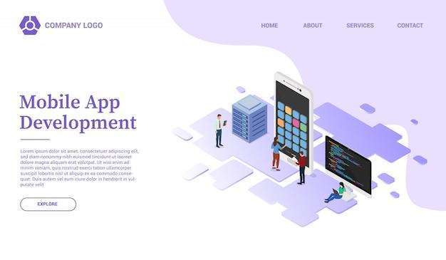 Sviluppo di app con modello di sito web per smartphone mobile o homepage di atterraggio con stile isometrico