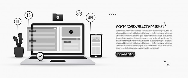 Sviluppo di applicazioni mobili, illustrazioni di programmazione e sviluppo software